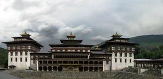 Buitenmening aan Tashichho dzong, Thimphu Bhutan stock afbeelding