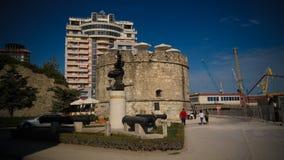 Buitenmening aan Venetiaanse Toren in Durres, Albanië stock afbeelding
