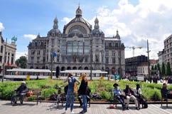 Buitenmening van antwerpen-Centraal station, België stock foto