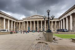 Buitenmening van British Museum, Stad van Londen, Engeland, Groot-Brittannië Stock Foto's