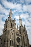 Buitenmening van de kathedraal van Djakarta stock fotografie