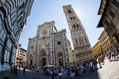 Buitenmening van Florence Cathedral in Italië royalty-vrije stock foto's