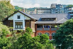 Buitenmening van het Hete de Lentemuseum van Beitou stock foto