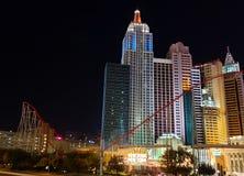 buitenmening van het Hotel van New York New York in de stad van Las Vegas, Nevada bij nacht royalty-vrije stock foto's