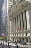 Buitenmening van New York Stock Exchange op Wall Street, de Stad van New York, New York Stock Foto's