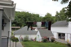 Buitenmening van traditionele Amish-Huizen bij Amish-Dorp, Lancaster, Pennsylvania stock afbeeldingen