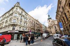 Buitenmeningen van gebouwen in Praag royalty-vrije stock afbeelding