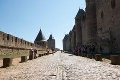 Buitenmuren van de citadel van Carcassonne Royalty-vrije Stock Foto