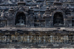 Buitenmuurdetail van Borobudur-tempel, Java, Indonesië Royalty-vrije Stock Foto's