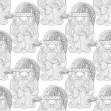 Buitensporig Kerstman naadloos patroon, zentangle stijl Etnisch X uit de vrije hand Royalty-vrije Stock Fotografie
