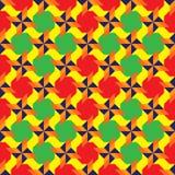 Buitensporig kleurrijk decoratief naadloos patroon met verschillende geometrische vormen van rode, groene, blauwe, oranje en gele Royalty-vrije Stock Foto's