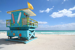 Buitensporige badmeesterhut in het Strand van Miami Royalty-vrije Stock Fotografie
