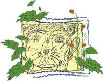Buitensporige bloemenbes met een gezicht Stock Foto