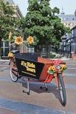 Buitensporige fiets die met bloemen in Amsterdam wordt verfraaid Royalty-vrije Stock Foto