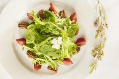 Buitensporige gezonde salade op een witte plaat. Stock Foto