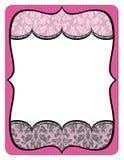 Buitensporige roze en grijze kaderprintout met kant Royalty-vrije Stock Foto