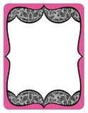 Buitensporige roze kaderprintout met zwart kant Royalty-vrije Stock Afbeeldingen