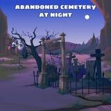 Buitre en un cementerio abandonado en la noche stock de ilustración