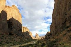 Buitrera kanjon, ett klättringparadis i den Chubut dalen, Argentina royaltyfri foto