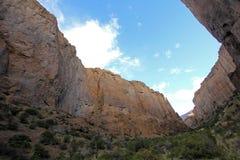 Buitrera-Schlucht, ein kletterndes Paradies im Chubut-Tal, Argentinien stockbild