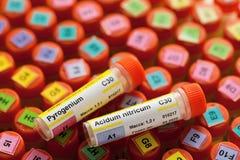 Buizen van homeopathiedruppeltjes en eerste hulpuitrusting met voorbereiding Royalty-vrije Stock Afbeeldingen