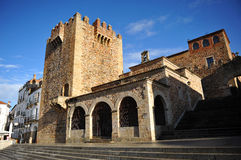 Bujaco塔,埃尔米塔de拉巴斯,卡塞里斯,埃斯特雷马杜拉,西班牙 库存照片