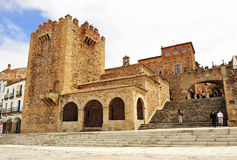 Bujaco Tower and Arc of the Star, Caceres, Extremadura, Spain. In the Main Square of Caceres (Plaza Mayor), is the Tower of Bujaco, the hermitage of Peace and Royalty Free Stock Photo