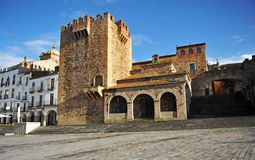 Bujaco tower in Main Square, Caceres, Extremadura, Spain. Main Square named Plaza Mayor and Bujaco tower in Caceres medieval city, Extremadura, Spain. 16_01_2014 Stock Photography