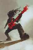 Bujaka gitarzysta bawić się czerwoną gitarę royalty ilustracja