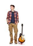 Bujaka muzyk i elektryczna gitara Obraz Stock