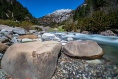 Bujaruelo`s valley river & rocks stock photography