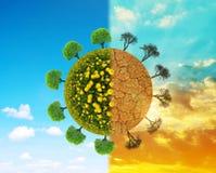 Bujny i suszy planetę z drzewami Obrazy Stock