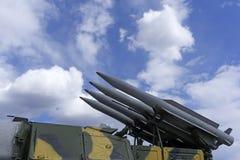 Buk防空导弹系统的自走导弹发射装置9A310 库存图片