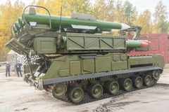 Buk-M1-2 surface-to-air missile systems in motion Stock Image