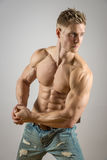 Buk- muskel av den blonda idrotts- manen Arkivbilder