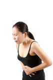 buk- smärta kvinnan Arkivbild
