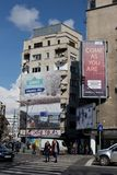 BUKAREST - 17. MÄRZ: Allgemeine Ansicht von Gebäuden und von Selbstverkehr auf Magheru-Boulevard in Bukarest-Foto am 17. März 201 Stockbilder