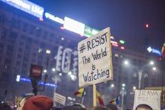 Bukarest-Protest gegen die Regierung Stockfotografie
