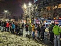Bukarest-Protest piata victoriei im Januar 2017 Stockfotos