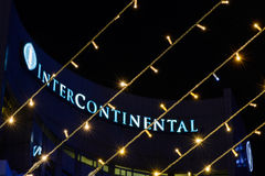 Bukarest, Rumänien - 25. Dezember: Hotel interkontinental auf Dece Lizenzfreie Stockfotografie