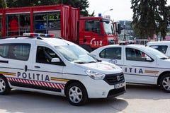 BUKAREST, RUMÄNIEN - September 2013, Polizeifahrzeuge Stockfotografie