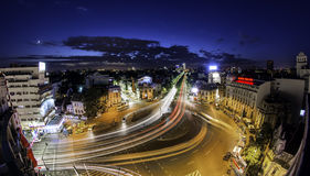 Bukarest-Skyline Piata Romana Stockfotografie