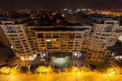 Bukarest-Stadt bis zum Nacht Stockbilder