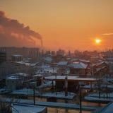 Bukarest-Verschmutzung morgens Lizenzfreie Stockbilder