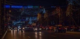 Bukarest-Weihnachten, das 2016 beleuchtet Stockfoto