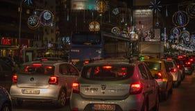 Bukarest-Weihnachten, das 2016 beleuchtet Stockfotografie