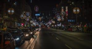Bukarest-Weihnachten, das 2016 beleuchtet Lizenzfreies Stockfoto