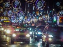 Bukarest-Weihnachten, das 2016 beleuchtet Lizenzfreie Stockfotografie