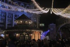Bukarest-Weihnachtslichter Stockfotografie