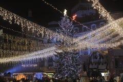 Bukarest-Weihnachtslichter Stockfoto